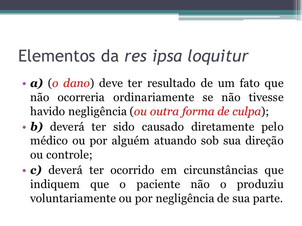 Elementos da res ipsa loquitur a) (o dano) deve ter resultado de um fato que não ocorreria ordinariamente se não tivesse havido negligência (ou outra