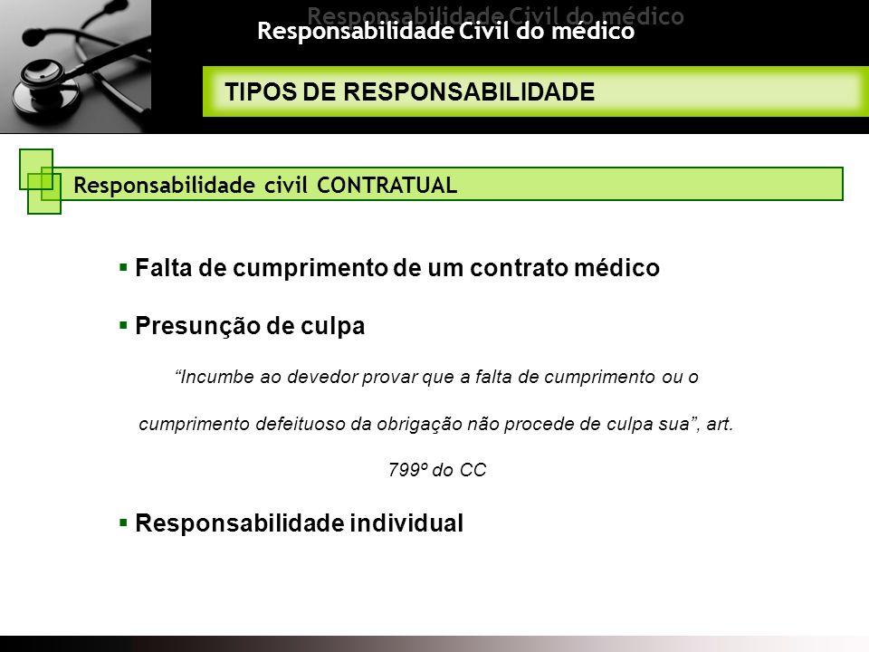 Responsabilidade Civil do médico TIPOS DE RESPONSABILIDADE Falta de cumprimento de um contrato médico Presunção de culpa Incumbe ao devedor provar que