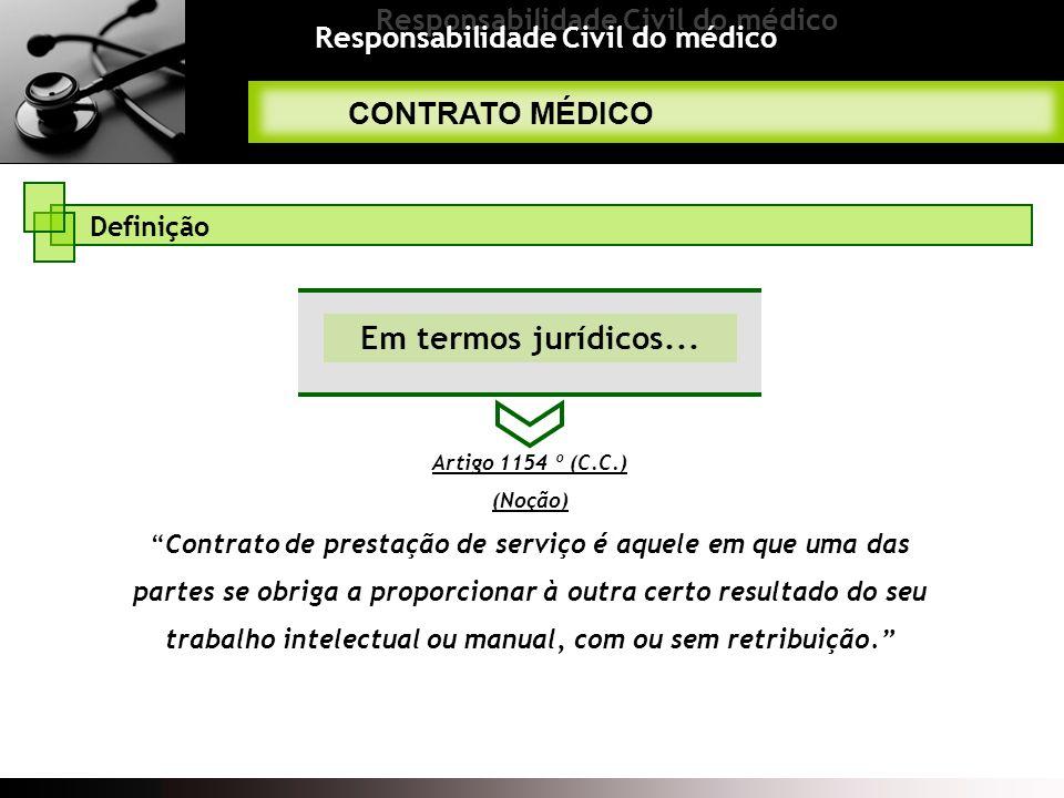 Responsabilidade Civil do médico CONTRATO MÉDICO Definição Em termos jurídicos... Artigo 1154 º (C.C.) (Noção)Contrato de prestação de serviço é aquel