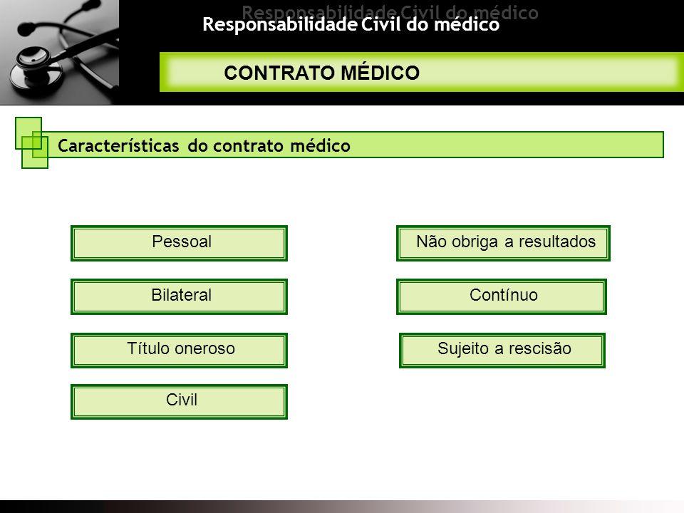 Responsabilidade Civil do médico CONTRATO MÉDICO Características do contrato médico Pessoal Bilateral Não obriga a resultados Contínuo Sujeito a resci