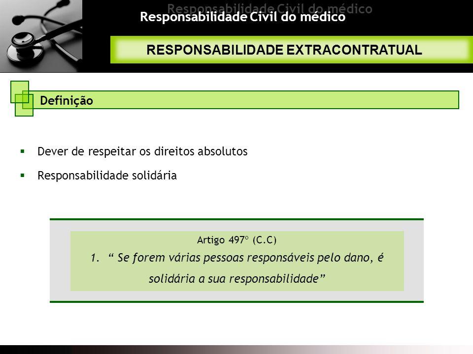 Responsabilidade Civil do médico RESPONSABILIDADE EXTRACONTRATUAL Definição Dever de respeitar os direitos absolutos Responsabilidade solidária Artigo