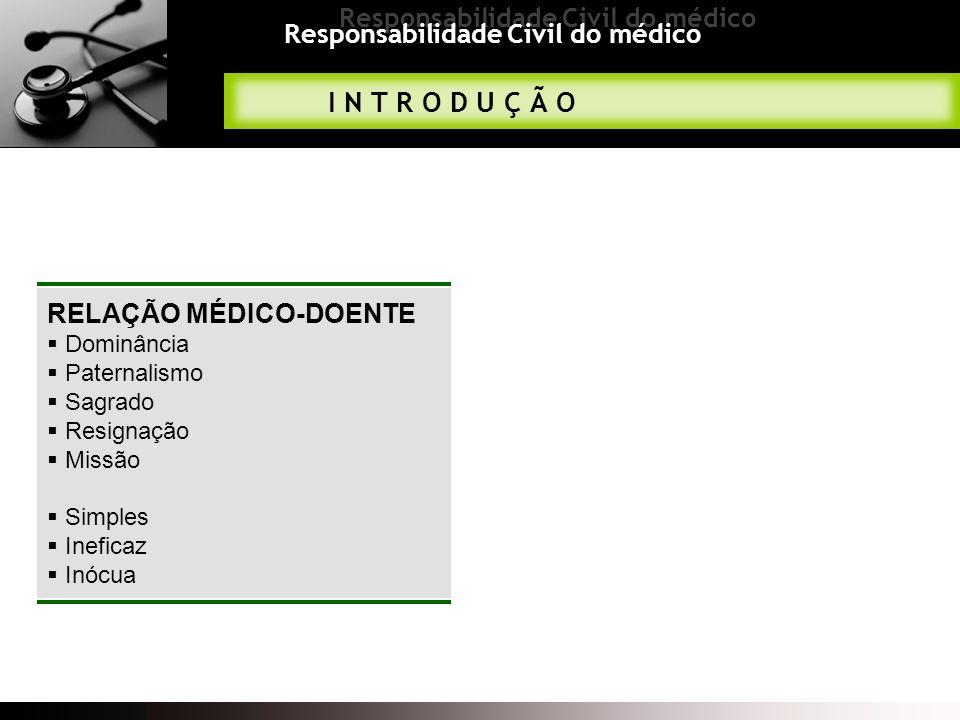 Responsabilidade Civil do médico CONTRATO MÉDICO Características do contrato médico Pessoal Bilateral Não obriga a resultados Contínuo Sujeito a rescisão Título oneroso Civil