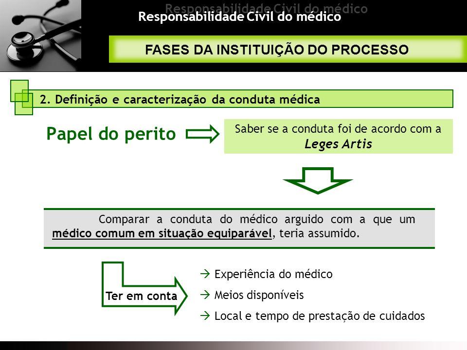 Responsabilidade Civil do médico Comparar a conduta do médico arguido com a que um médico comum em situação equiparável, teria assumido. Experiência d