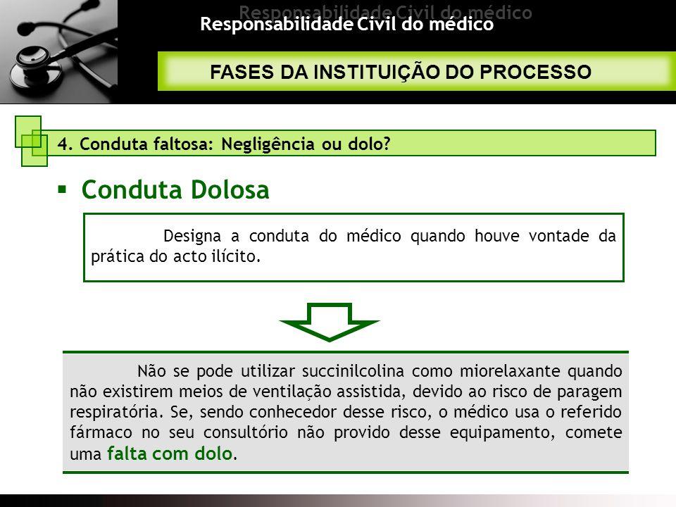 Responsabilidade Civil do médico Não se pode utilizar succinilcolina como miorelaxante quando não existirem meios de ventilação assistida, devido ao r