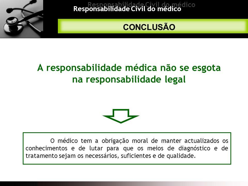 Responsabilidade Civil do médico CONCLUSÃO A responsabilidade médica não se esgota na responsabilidade legal O médico tem a obrigação moral de manter
