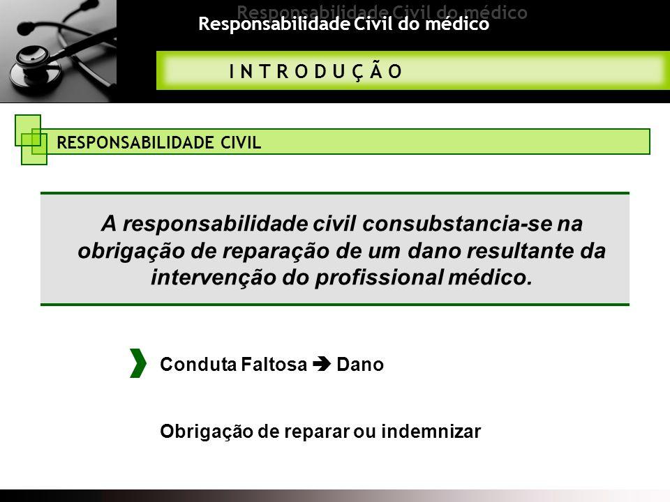 Responsabilidade Civil do médico I N T R O D U Ç Ã O RESPONSABILIDADE CIVIL A responsabilidade civil consubstancia-se na obrigação de reparação de um dano resultante da intervenção do profissional médico.