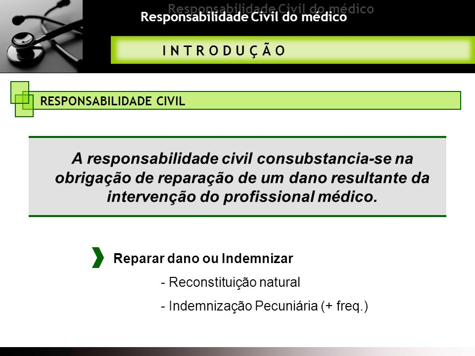 Responsabilidade Civil do médico TIPOS DE RESPONSABILIDADE A responsabilidade civil consubstancia-se na obrigação de reparação de um dano resultante da intervenção do profissional médico.