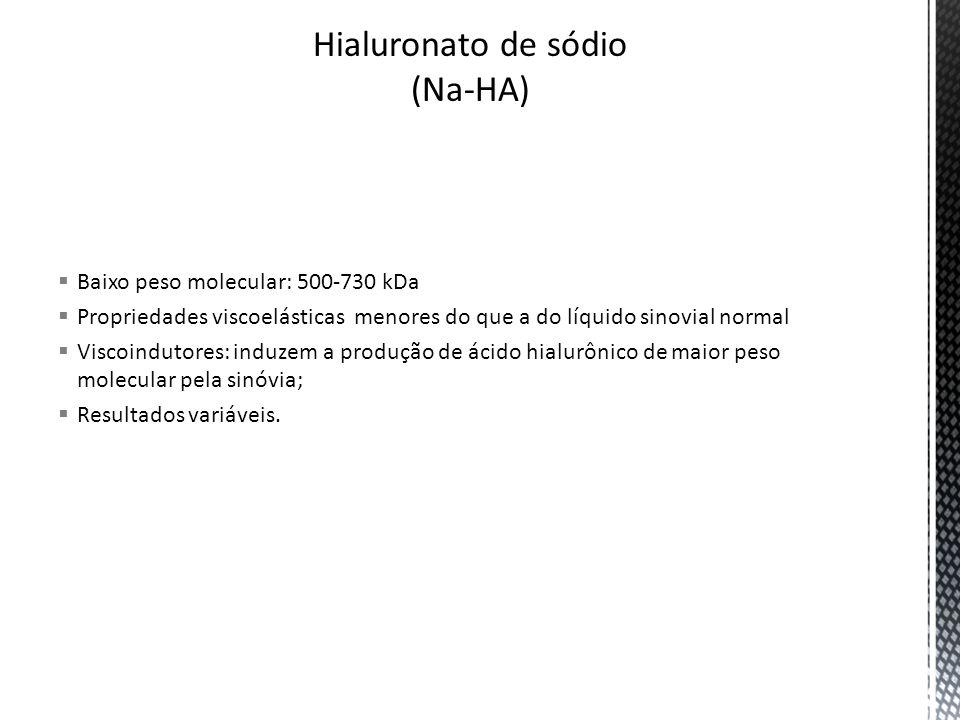 Baixo peso molecular: 500-730 kDa Propriedades viscoelásticas menores do que a do líquido sinovial normal Viscoindutores: induzem a produção de ácido