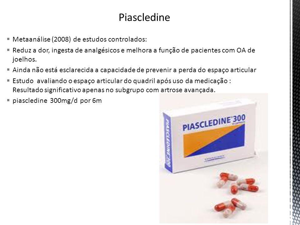 Metaanálise (2008) de estudos controlados: Reduz a dor, ingesta de analgésicos e melhora a função de pacientes com OA de joelhos. Ainda não está escla