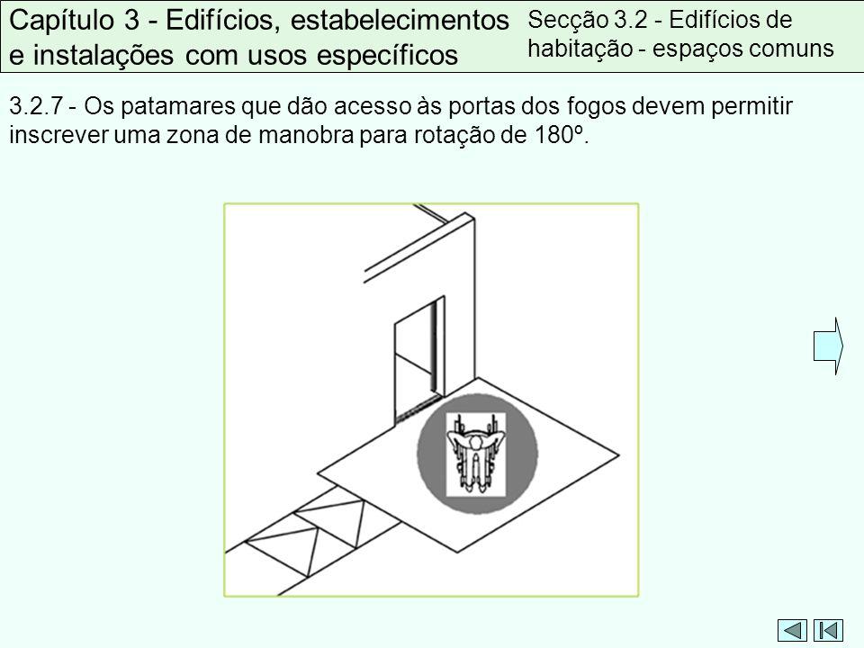 3.2.7 - Os patamares que dão acesso às portas dos fogos devem permitir inscrever uma zona de manobra para rotação de 180º. Capítulo 3 - Edifícios, est