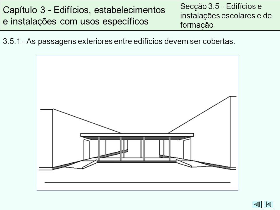 3.5.1 - As passagens exteriores entre edifícios devem ser cobertas. Capítulo 3 - Edifícios, estabelecimentos e instalações com usos específicos Secção