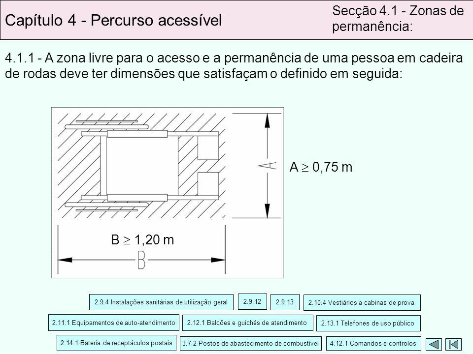 4.1.1 - A zona livre para o acesso e a permanência de uma pessoa em cadeira de rodas deve ter dimensões que satisfaçam o definido em seguida: Capítulo
