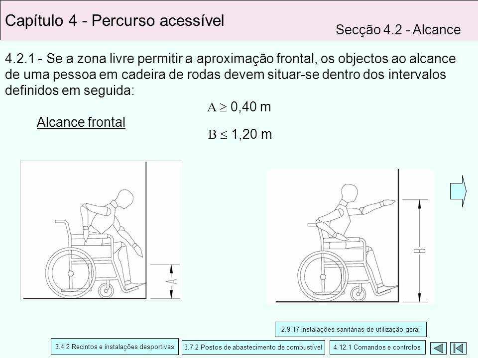 4.2.1 - Se a zona livre permitir a aproximação frontal, os objectos ao alcance de uma pessoa em cadeira de rodas devem situar-se dentro dos intervalos