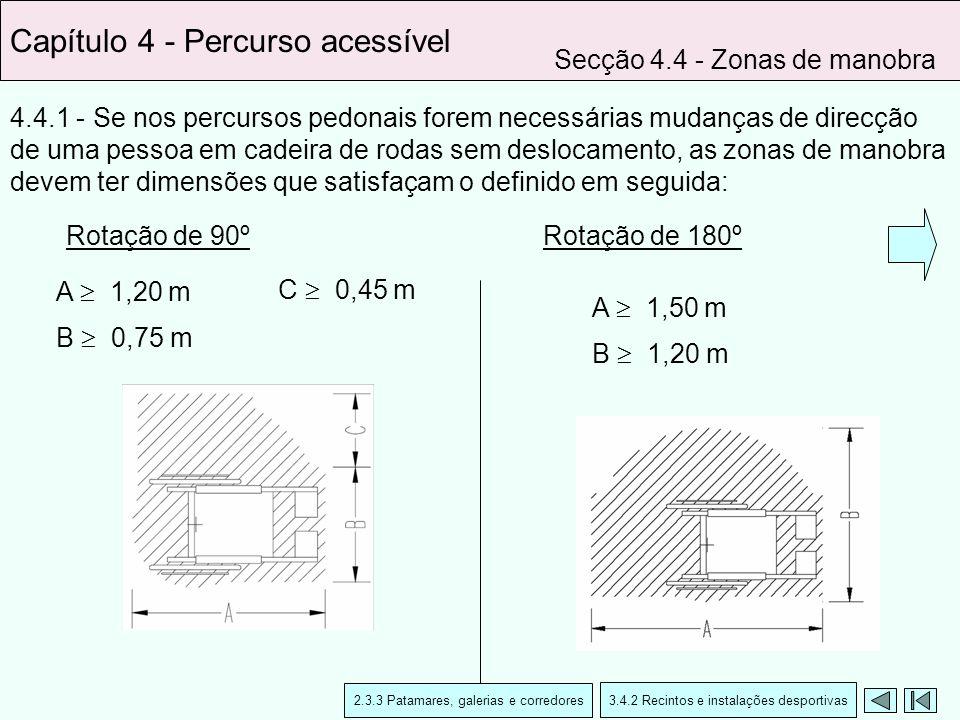 4.4.1 - Se nos percursos pedonais forem necessárias mudanças de direcção de uma pessoa em cadeira de rodas sem deslocamento, as zonas de manobra devem