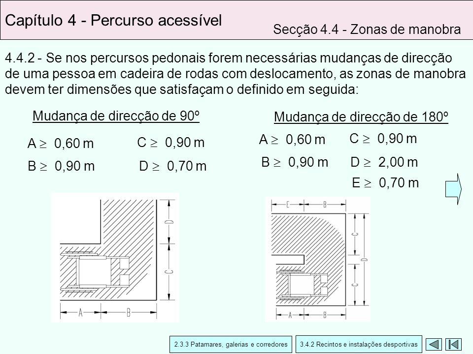 4.4.2 - Se nos percursos pedonais forem necessárias mudanças de direcção de uma pessoa em cadeira de rodas com deslocamento, as zonas de manobra devem