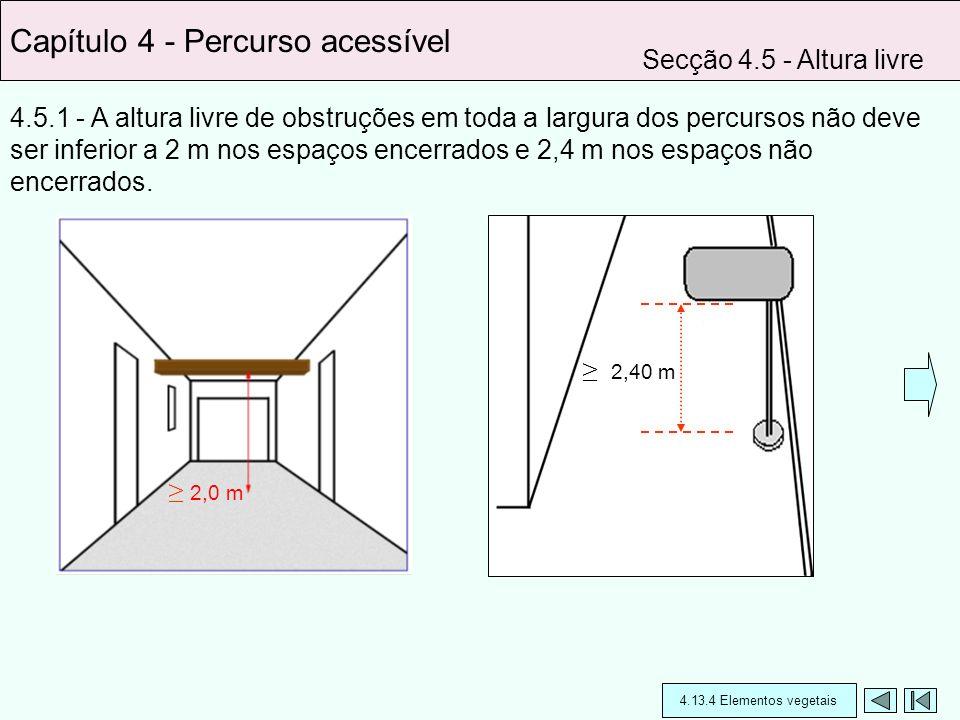 4.5.1 - A altura livre de obstruções em toda a largura dos percursos não deve ser inferior a 2 m nos espaços encerrados e 2,4 m nos espaços não encerr