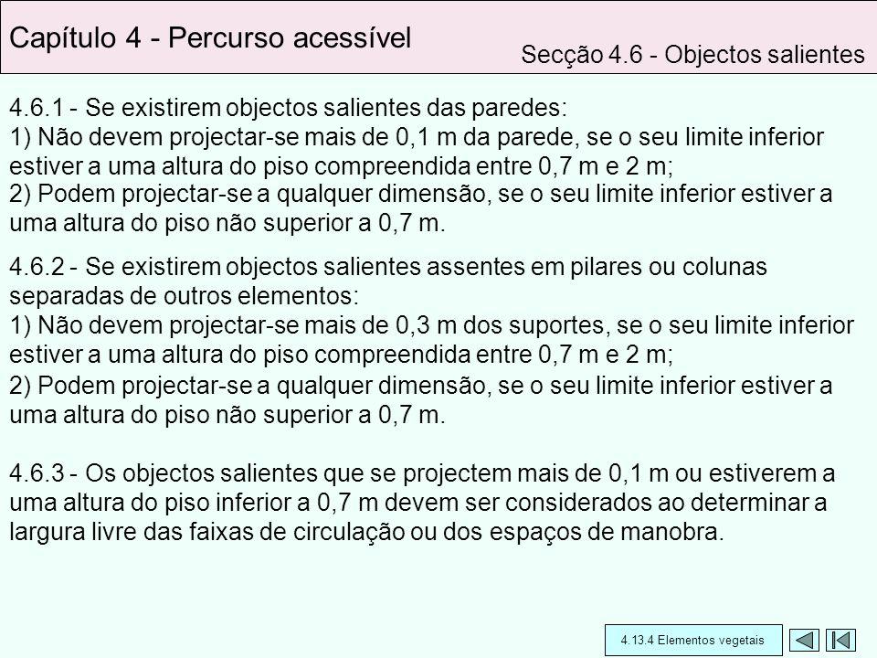 4.6.1 - Se existirem objectos salientes das paredes: 1) Não devem projectar-se mais de 0,1 m da parede, se o seu limite inferior estiver a uma altura