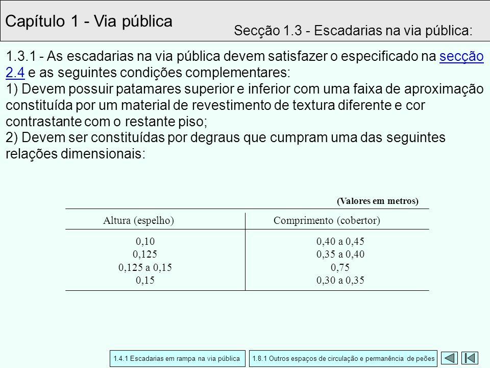 1.3.1 - As escadarias na via pública devem satisfazer o especificado na secção 2.4 e as seguintes condições complementares: 1) Devem possuir patamares