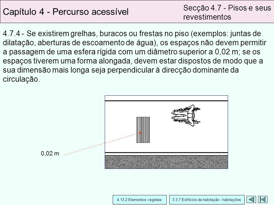 4.7.4 - Se existirem grelhas, buracos ou frestas no piso (exemplos: juntas de dilatação, aberturas de escoamento de água), os espaços não devem permit