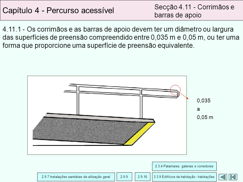 4.11.1 - Os corrimãos e as barras de apoio devem ter um diâmetro ou largura das superfícies de preensão compreendido entre 0,035 m e 0,05 m, ou ter um