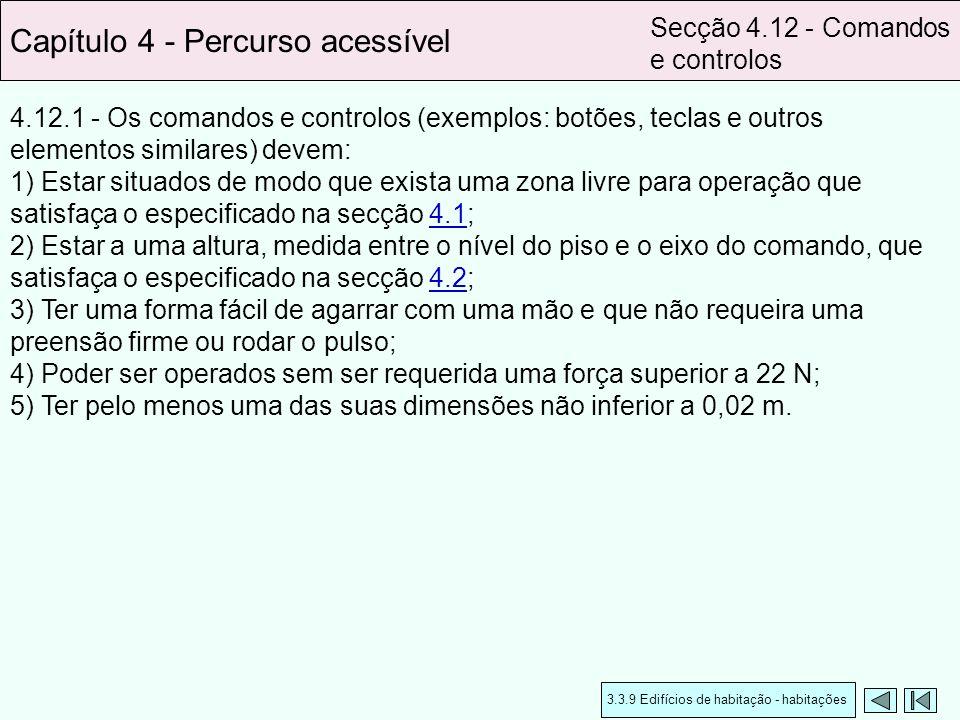 4.12.1 - Os comandos e controlos (exemplos: botões, teclas e outros elementos similares) devem: 1) Estar situados de modo que exista uma zona livre pa