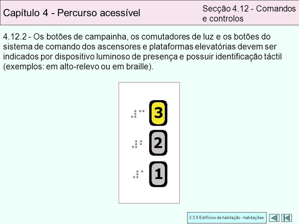 4.12.2 - Os botões de campainha, os comutadores de luz e os botões do sistema de comando dos ascensores e plataformas elevatórias devem ser indicados