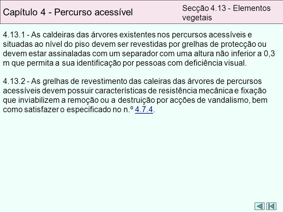4.13.1 - As caldeiras das árvores existentes nos percursos acessíveis e situadas ao nível do piso devem ser revestidas por grelhas de protecção ou dev