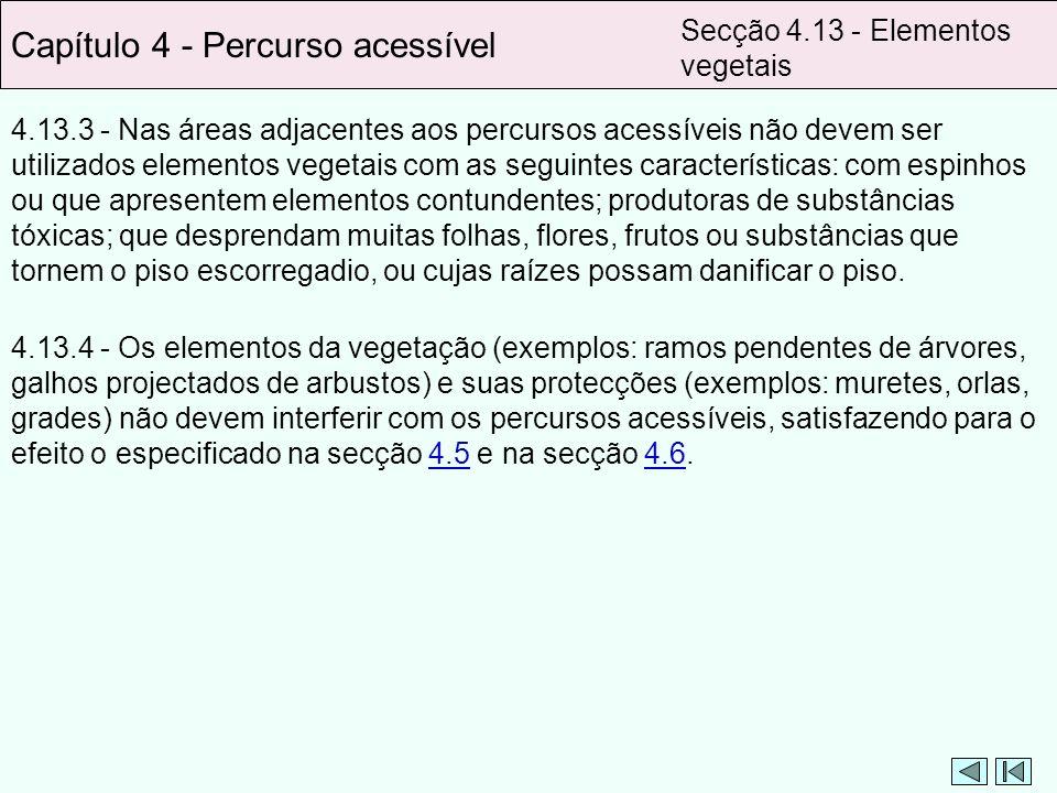 Capítulo 4 - Percurso acessível Secção 4.13 - Elementos vegetais 4.13.3 - Nas áreas adjacentes aos percursos acessíveis não devem ser utilizados eleme