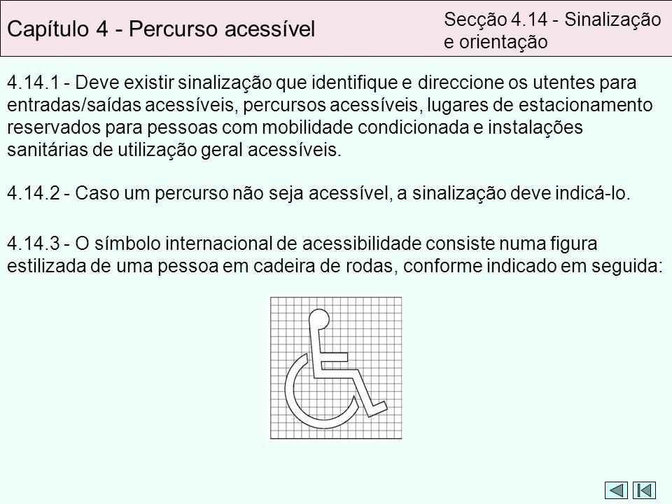 4.14.1 - Deve existir sinalização que identifique e direccione os utentes para entradas/saídas acessíveis, percursos acessíveis, lugares de estacionam