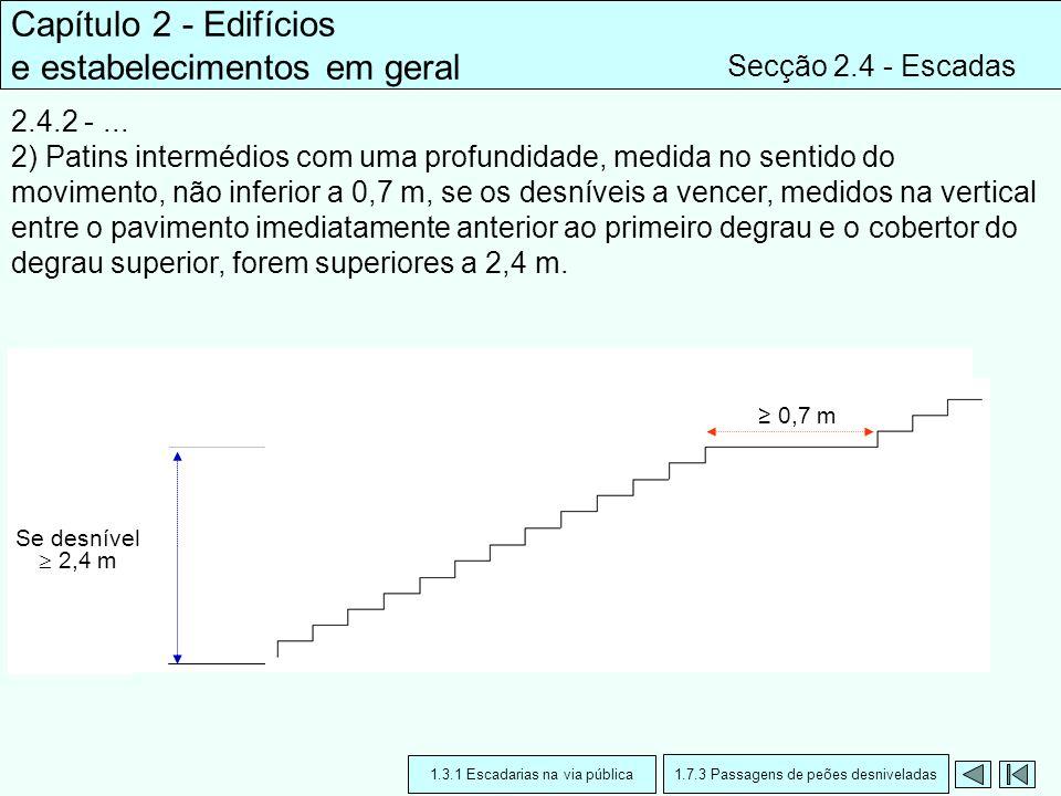 Capítulo 2 - Edifícios e estabelecimentos em geral Secção 2.4 - Escadas 2.4.2 -... 2) Patins intermédios com uma profundidade, medida no sentido do mo