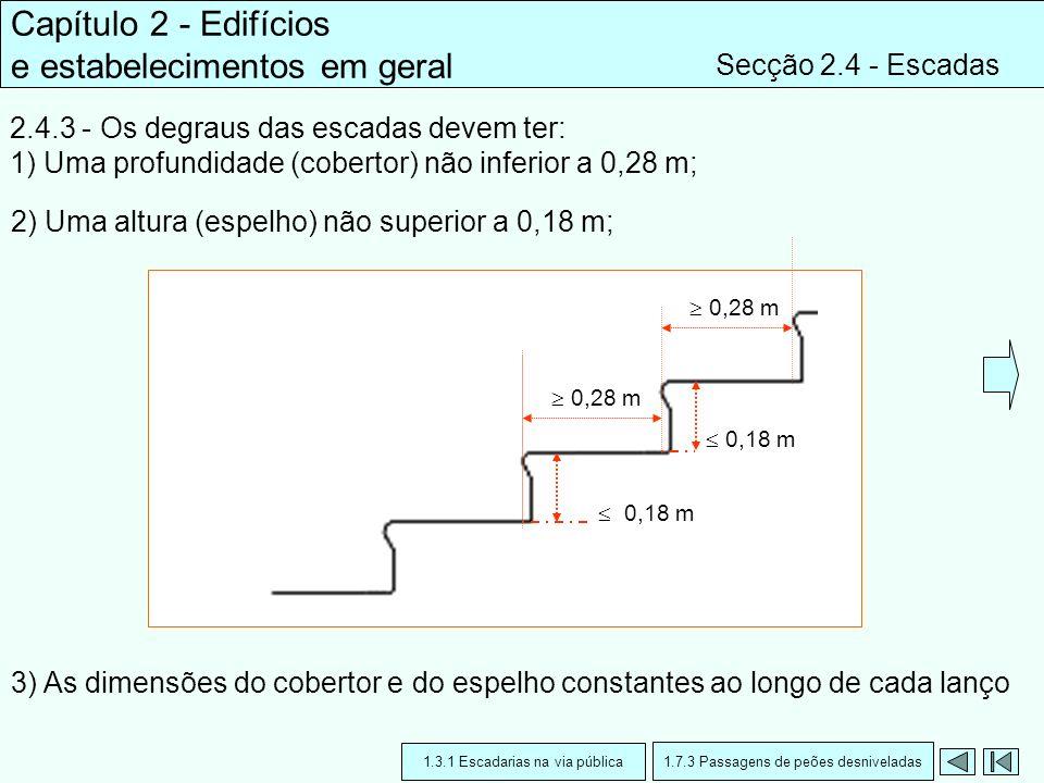 Capítulo 2 - Edifícios e estabelecimentos em geral Secção 2.4 - Escadas 2.4.3 - Os degraus das escadas devem ter: 1) Uma profundidade (cobertor) não i