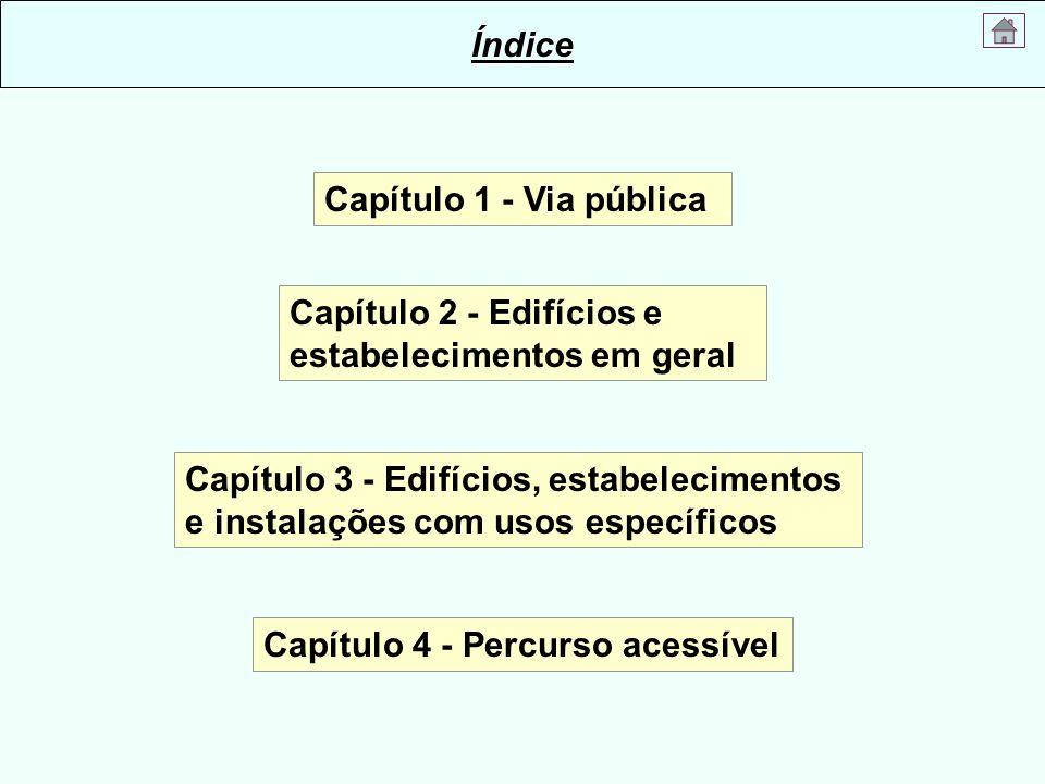Capítulo 1 - Via pública Capítulo 3 - Edifícios, estabelecimentos e instalações com usos específicos Capítulo 2 - Edifícios e estabelecimentos em gera