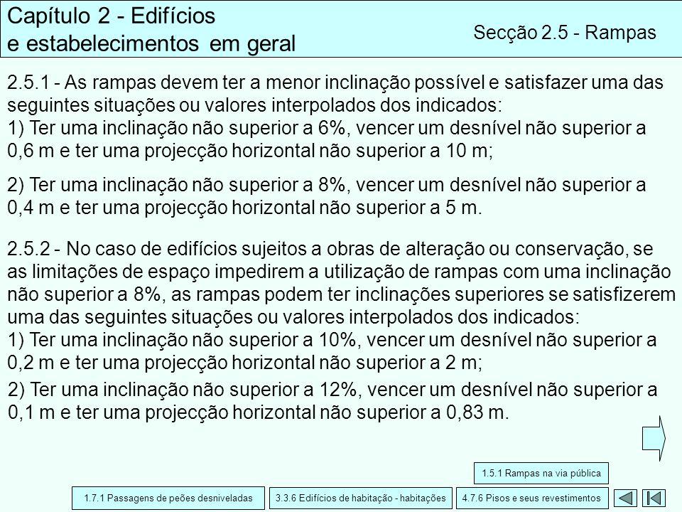 Capítulo 2 - Edifícios e estabelecimentos em geral Secção 2.5 - Rampas 2.5.1 - As rampas devem ter a menor inclinação possível e satisfazer uma das se