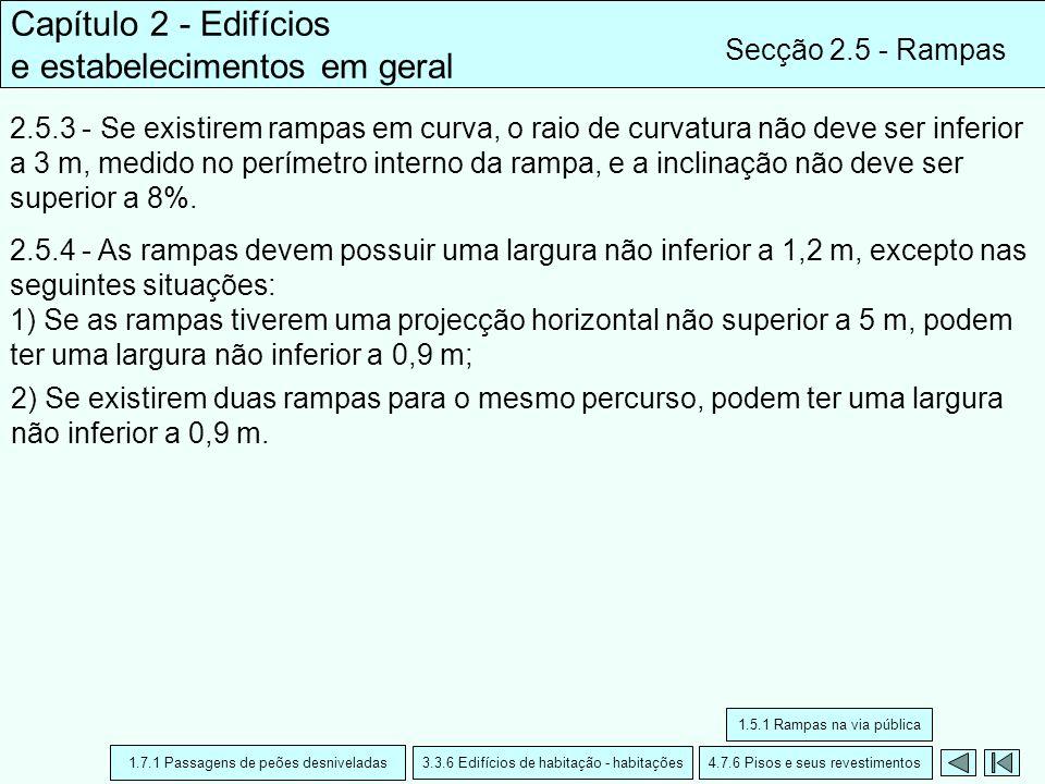 Capítulo 2 - Edifícios e estabelecimentos em geral Secção 2.5 - Rampas 2.5.3 - Se existirem rampas em curva, o raio de curvatura não deve ser inferior