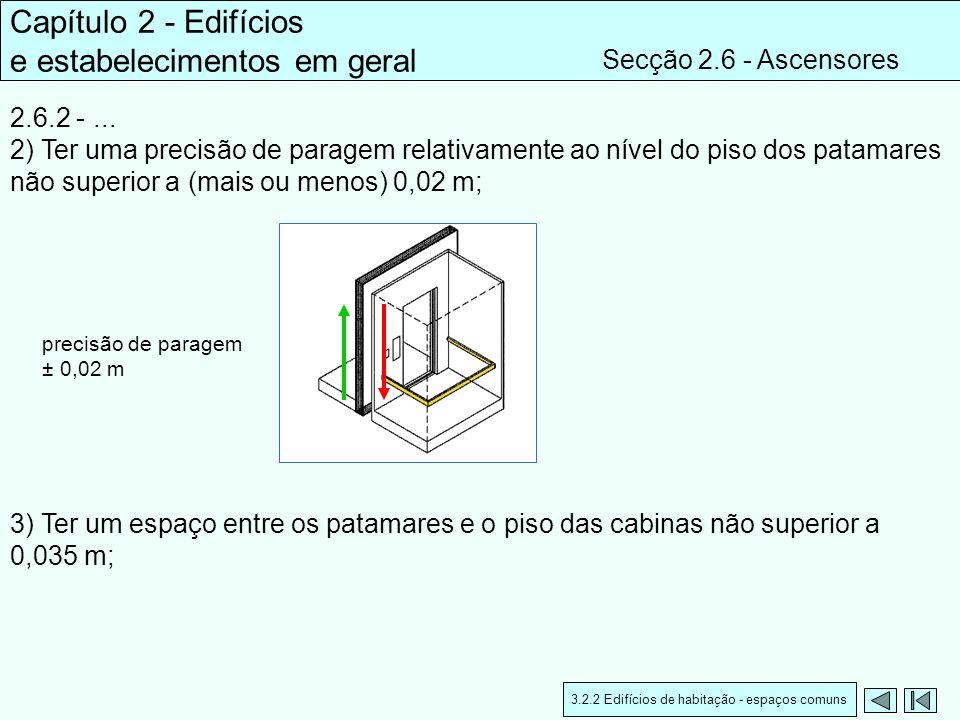 2.6.2 -... 2) Ter uma precisão de paragem relativamente ao nível do piso dos patamares não superior a (mais ou menos) 0,02 m; Capítulo 2 - Edifícios e