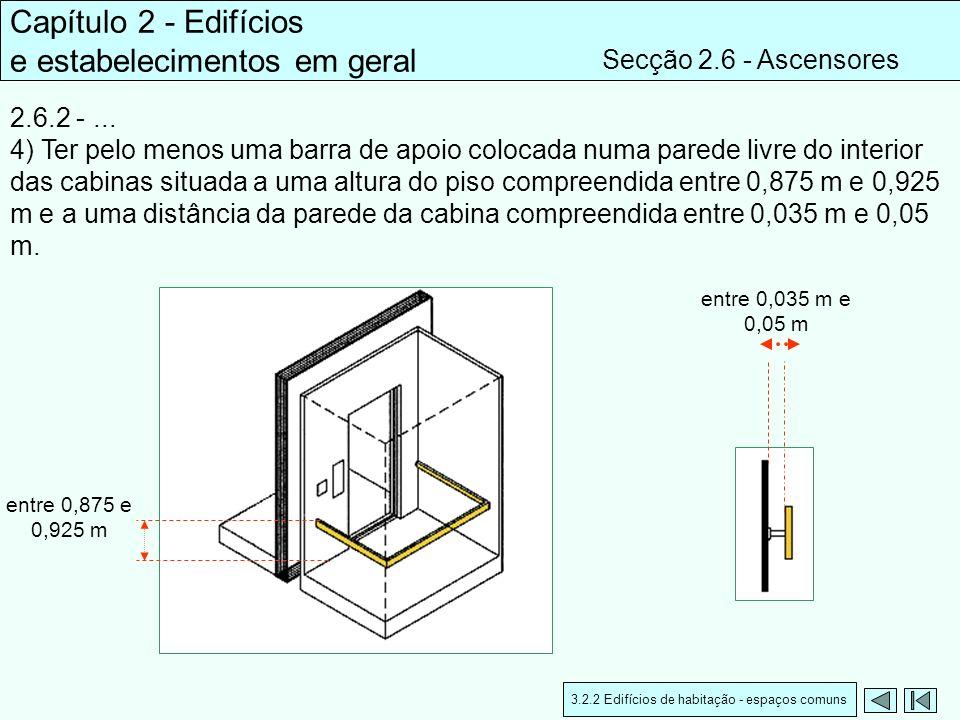 2.6.2 -... 4) Ter pelo menos uma barra de apoio colocada numa parede livre do interior das cabinas situada a uma altura do piso compreendida entre 0,8