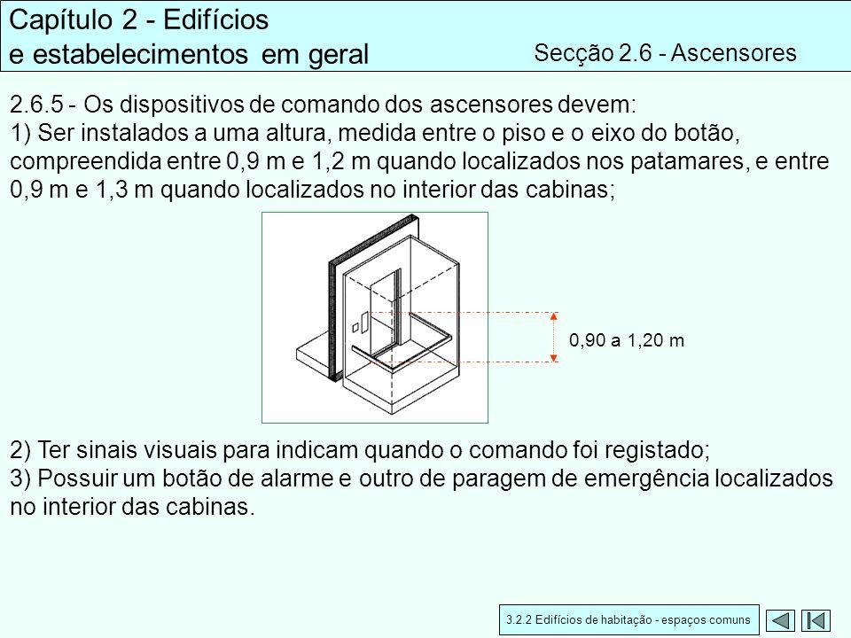 2.6.5 - Os dispositivos de comando dos ascensores devem: 1) Ser instalados a uma altura, medida entre o piso e o eixo do botão, compreendida entre 0,9