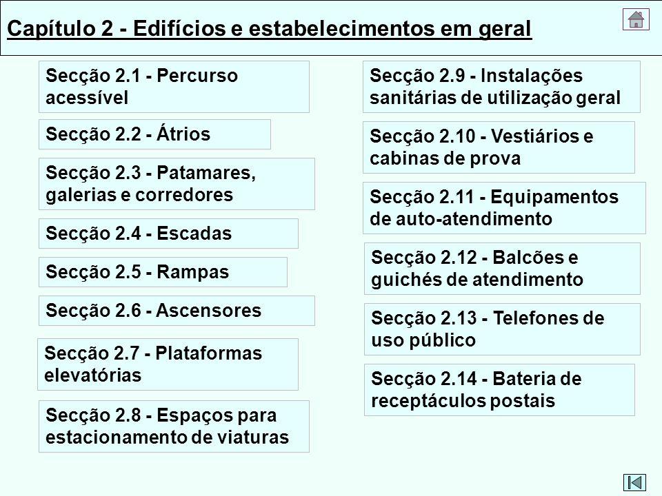 Capítulo 2 - Edifícios e estabelecimentos em geral Secção 2.1 - Percurso acessível Secção 2.2 - Átrios Secção 2.3 - Patamares, galerias e corredores S