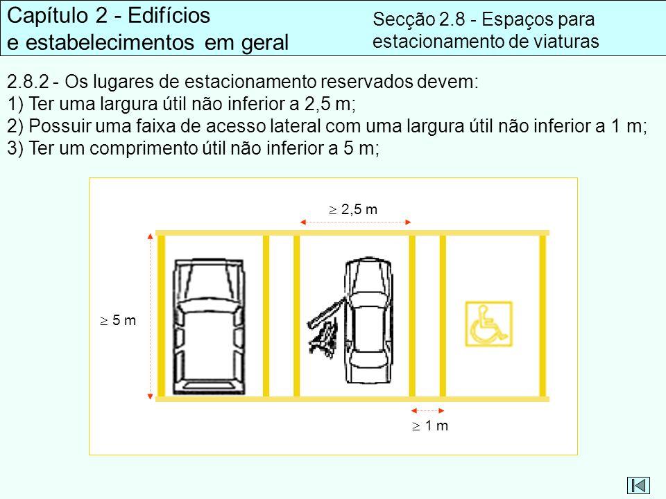 Capítulo 2 - Edifícios e estabelecimentos em geral Secção 2.8 - Espaços para estacionamento de viaturas 2.8.2 - Os lugares de estacionamento reservado