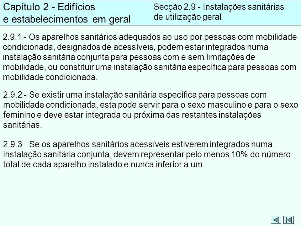 Capítulo 2 - Edifícios e estabelecimentos em geral Secção 2.9 - Instalações sanitárias de utilização geral 2.9.1 - Os aparelhos sanitários adequados a