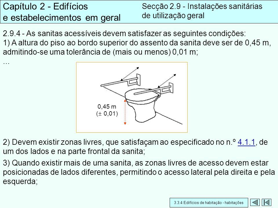 2.9.4 - As sanitas acessíveis devem satisfazer as seguintes condições: 1) A altura do piso ao bordo superior do assento da sanita deve ser de 0,45 m,