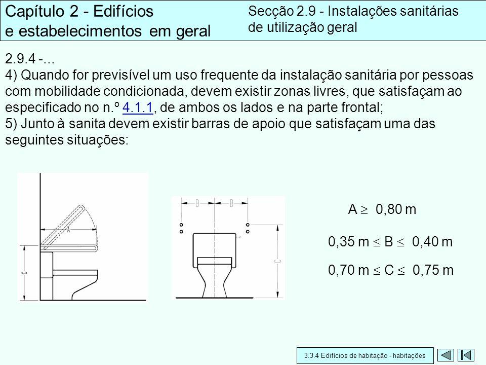 2.9.4 -... 4) Quando for previsível um uso frequente da instalação sanitária por pessoas com mobilidade condicionada, devem existir zonas livres, que