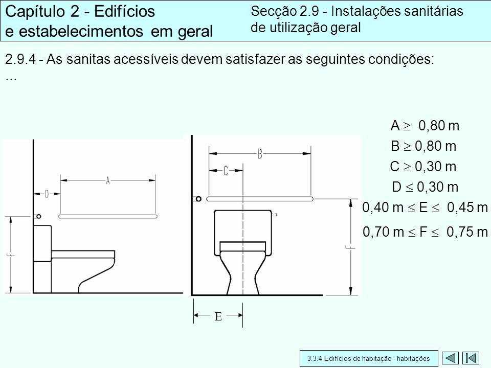 E 2.9.4 - As sanitas acessíveis devem satisfazer as seguintes condições:... Capítulo 2 - Edifícios e estabelecimentos em geral Secção 2.9 - Instalaçõe