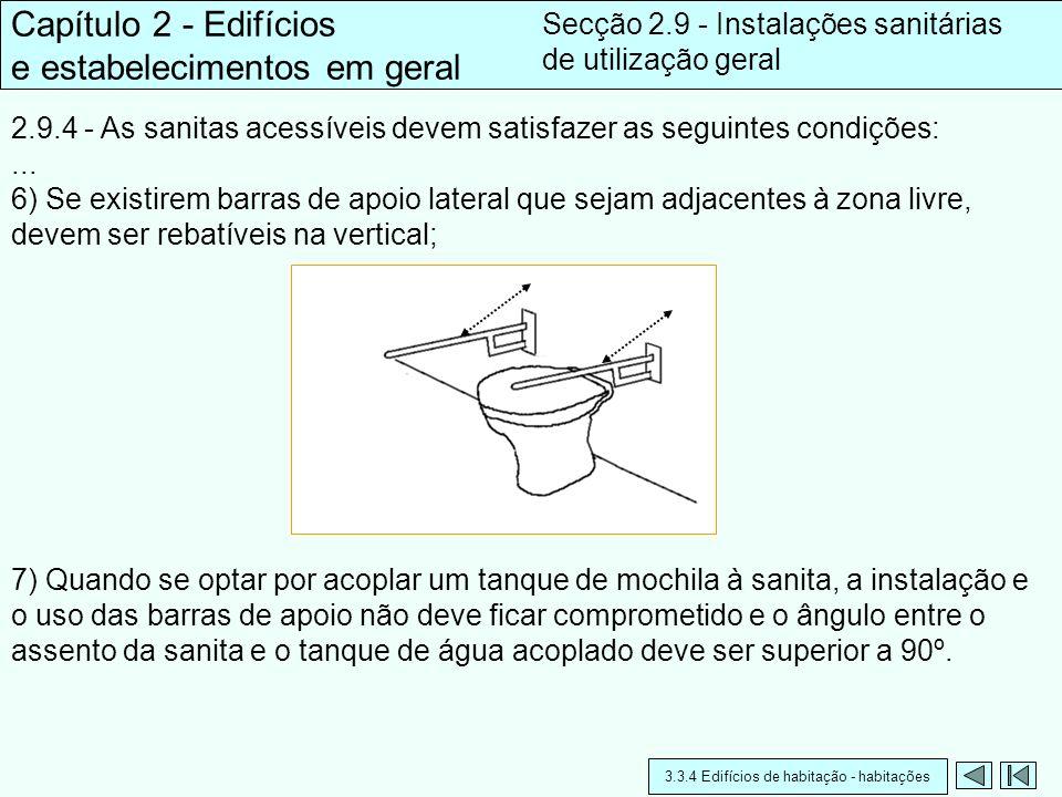 2.9.4 - As sanitas acessíveis devem satisfazer as seguintes condições:... 6) Se existirem barras de apoio lateral que sejam adjacentes à zona livre, d