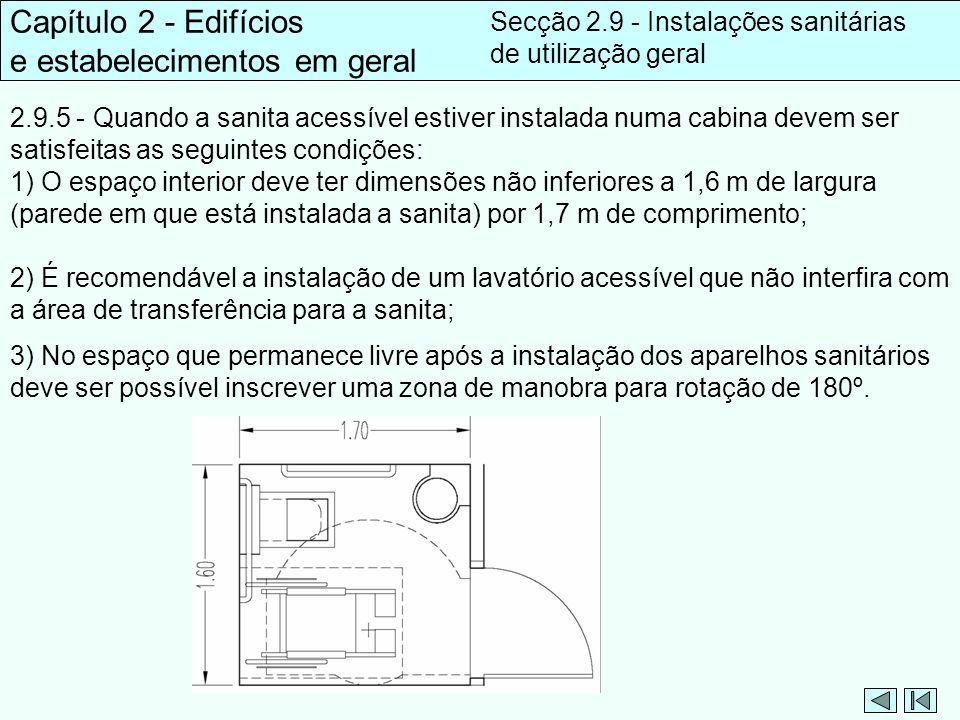 2.9.5 - Quando a sanita acessível estiver instalada numa cabina devem ser satisfeitas as seguintes condições: 1) O espaço interior deve ter dimensões