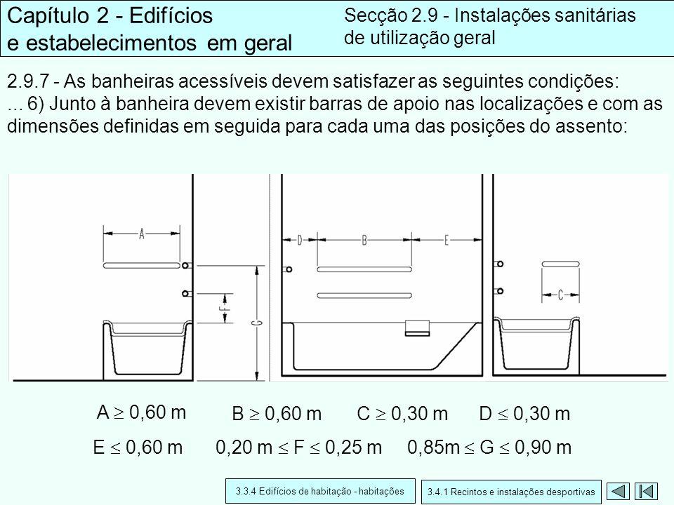 2.9.7 - As banheiras acessíveis devem satisfazer as seguintes condições:... 6) Junto à banheira devem existir barras de apoio nas localizações e com a