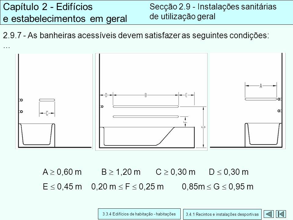 2.9.7 - As banheiras acessíveis devem satisfazer as seguintes condições:... Capítulo 2 - Edifícios e estabelecimentos em geral Secção 2.9 - Instalaçõe