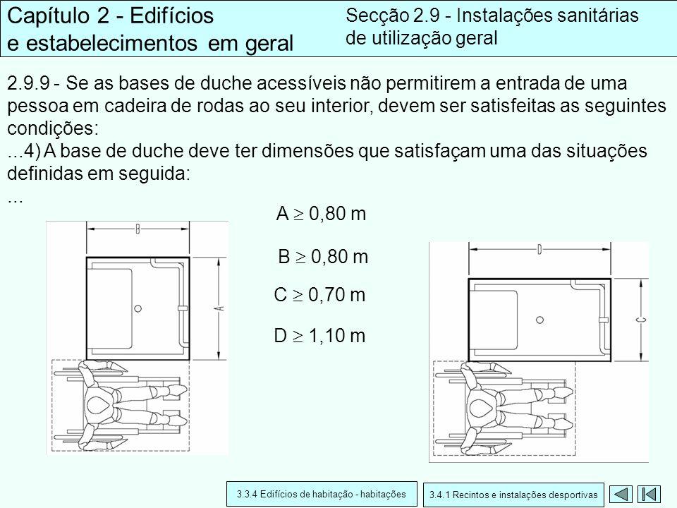 2.9.9 - Se as bases de duche acessíveis não permitirem a entrada de uma pessoa em cadeira de rodas ao seu interior, devem ser satisfeitas as seguintes