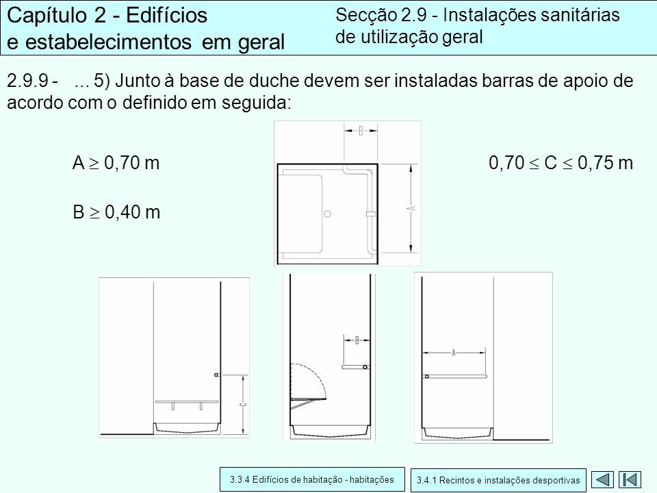 2.9.9 -... 5) Junto à base de duche devem ser instaladas barras de apoio de acordo com o definido em seguida: Capítulo 2 - Edifícios e estabelecimento