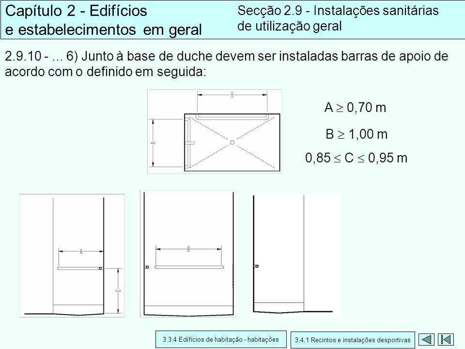 2.9.10 -... 6) Junto à base de duche devem ser instaladas barras de apoio de acordo com o definido em seguida: Capítulo 2 - Edifícios e estabeleciment